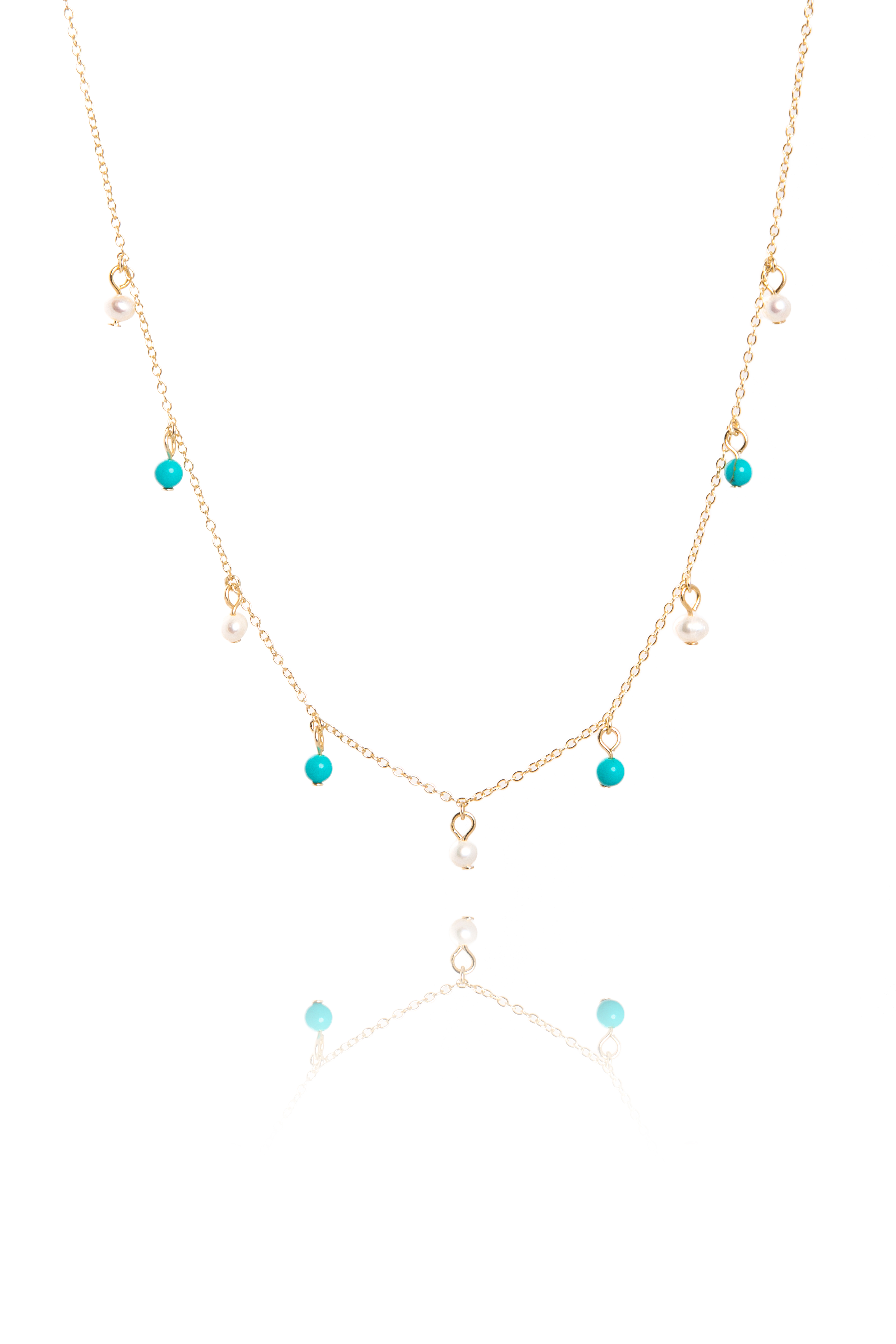Finest Turquoise & Pearl Drop Necklace on Gold - The Makery Collection OS53