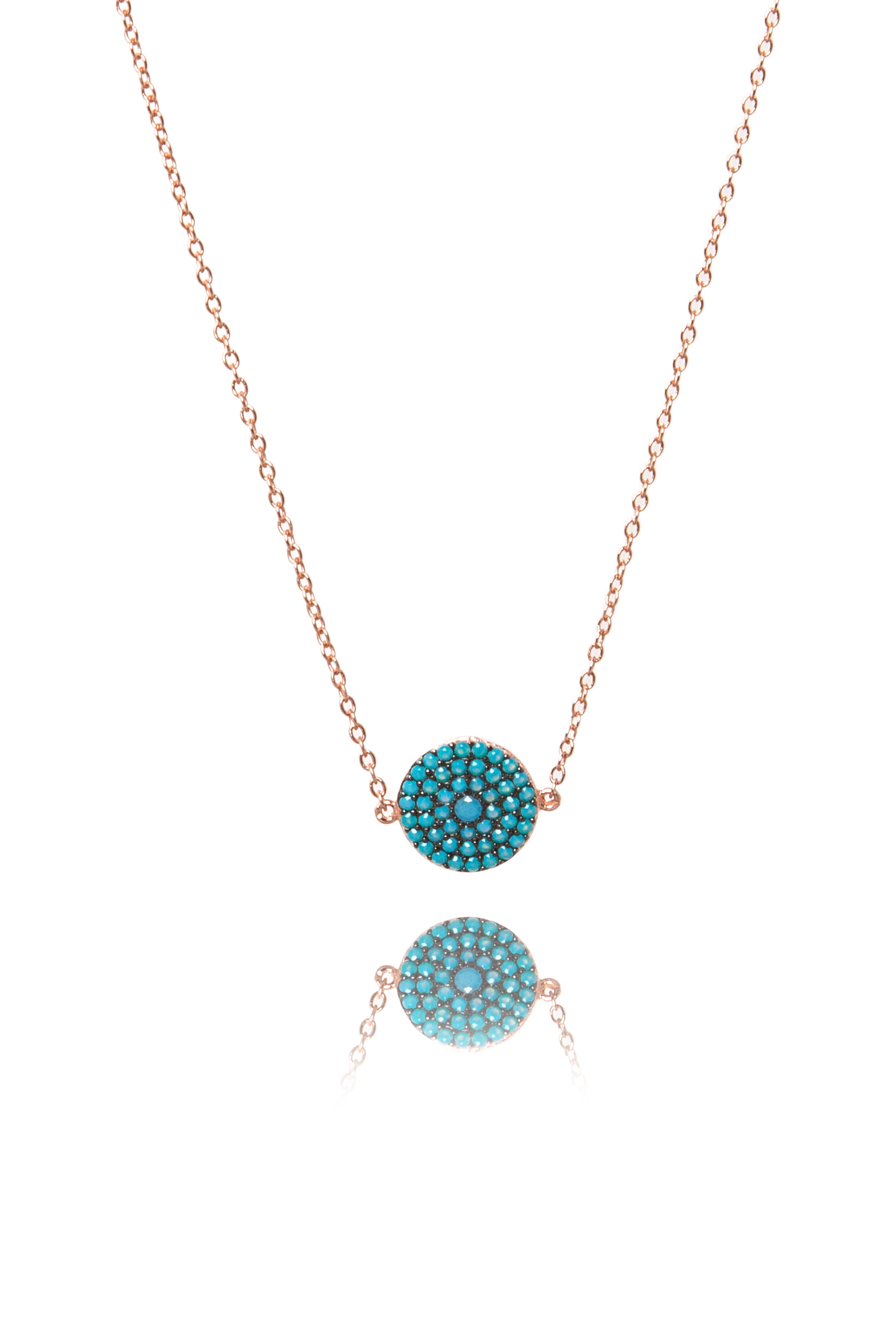 Rose gold and turquoise round pendant necklace the makery collection rose gold and turquoise round pendant necklace aloadofball Image collections