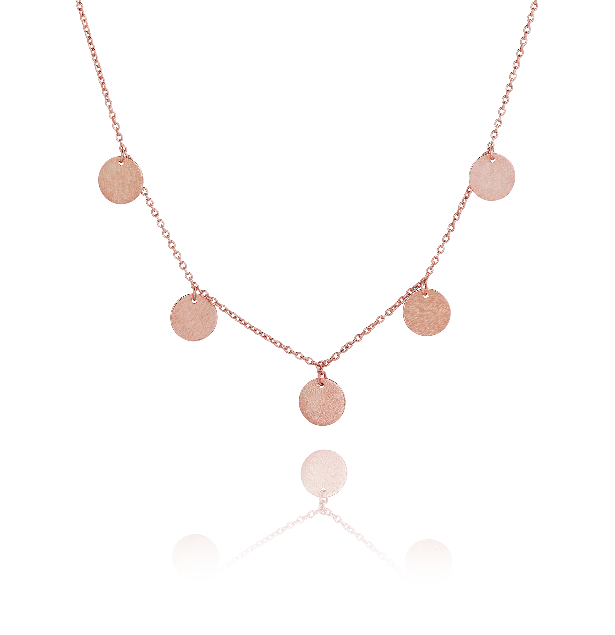 Rose Gold Five Disc Necklace The Makery Collection